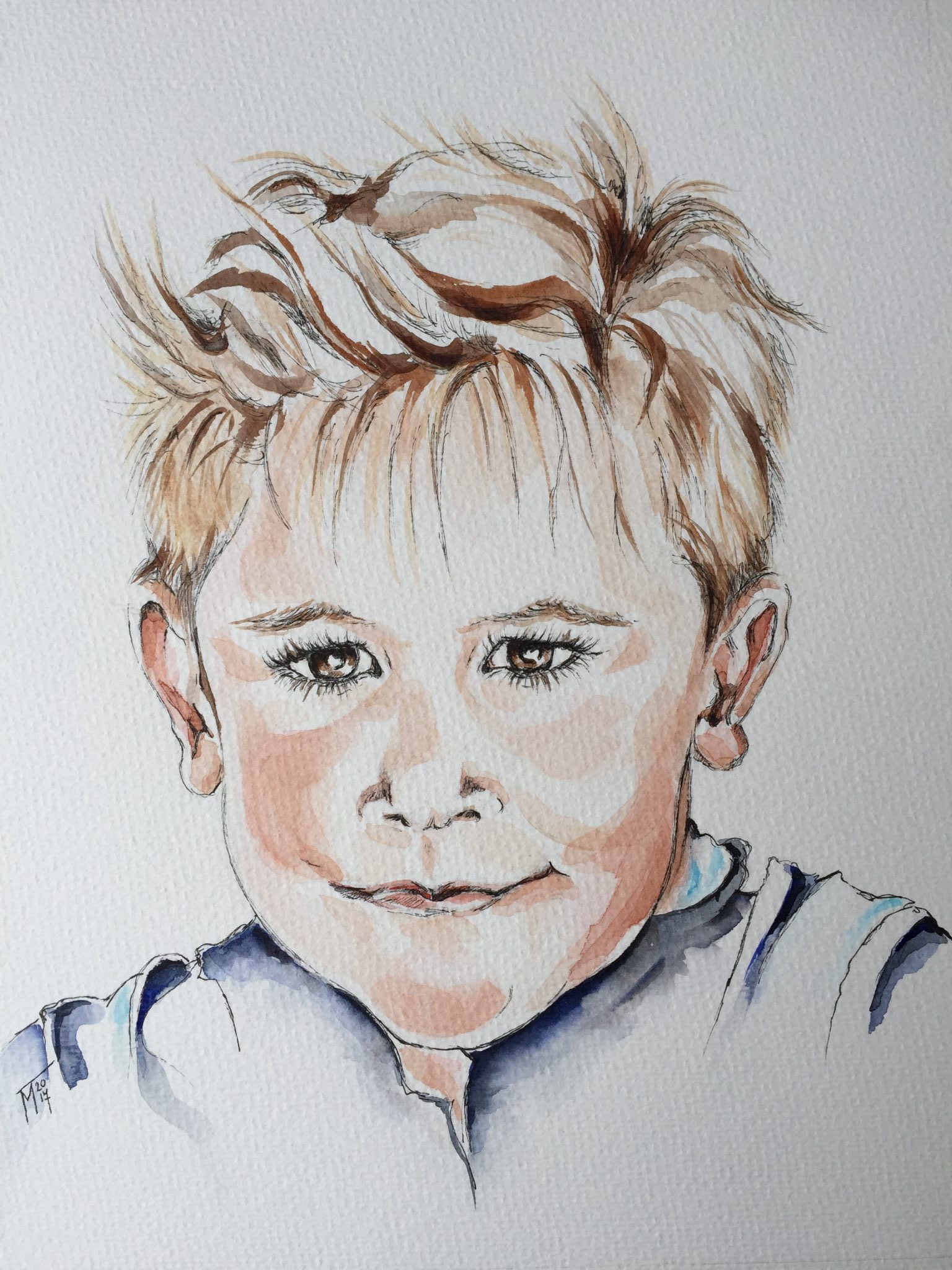 Jongetje - Aquarel/inkt 30 x 40